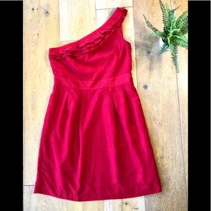The Limited red one shoulder ruffle dress 10